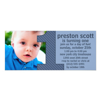 """Ocean Blue One Is Fun Photo First Birthday Party 4"""" X 9.25"""" Invitation Card"""