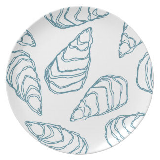 Ocean Blue Oyster Shells on White Dinner Plate