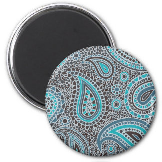 Ocean Blue paisley Magnets