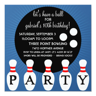 Ocean Blue Pin Party Bowling Birthday Party 5.25x5.25 Square Paper Invitation Card