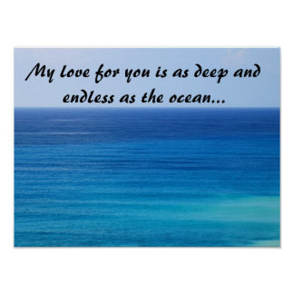 Ocean Blue Poster with Love Message
