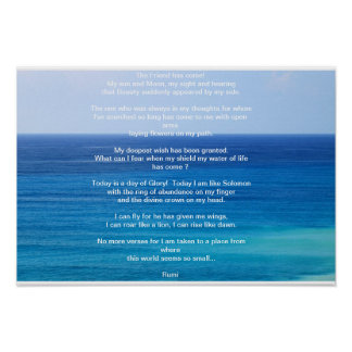 Ocean Blue poster with Rumi lines