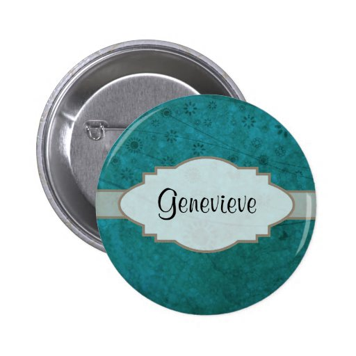 Ocean Blue Retro Floral Abstract Nameplate 2 Inch Round Button