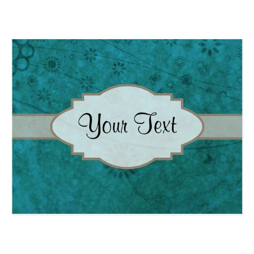 Ocean Blue Retro Floral Abstract Nameplate Postcard