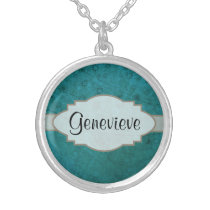 Ocean Blue Retro Floral Abstract Nameplate Silver Plated Necklace
