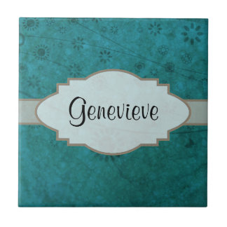 Ocean Blue Retro Floral Abstract Nameplate Tile