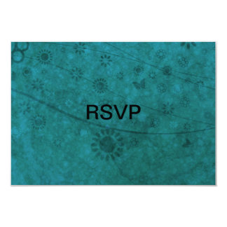 """Ocean Blue Retro Flowers and Butterflies Abstract 3.5"""" X 5"""" Invitation Card"""