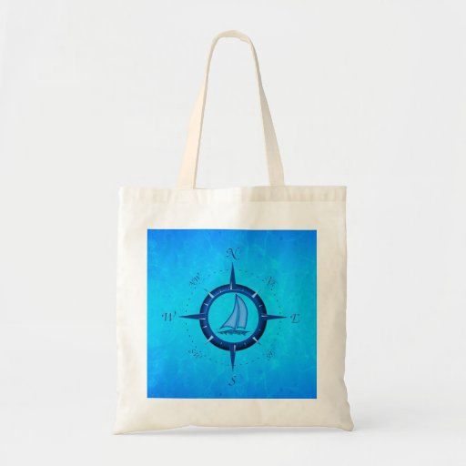 Ocean Blue Sailboat And Compass Rose Canvas Bag