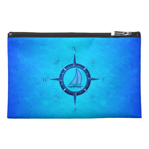 Ocean Blue Sailboat And Compass Rose Travel Accessory Bags
