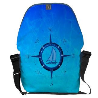 Ocean Blue Sailboat And Compass Rose Messenger Bags