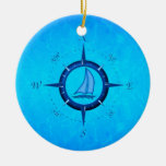 Ocean Blue Sailboat And Compass Rose Double-Sided Ceramic Round Christmas Ornament