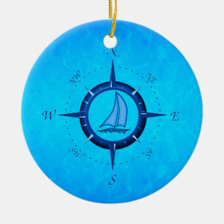 Ocean Blue Sailboat And Compass Rose Christmas Tree Ornament
