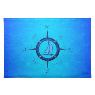 Ocean Blue Sailboat And Compass Rose Placemats