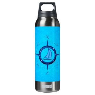 Ocean Blue Sailboat And Compass Rose 16 Oz Insulated SIGG Thermos Water Bottle