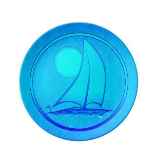 Ocean Blue Sailboat Porcelain Plate