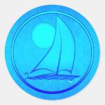 Ocean Blue Sailboat Round Sticker