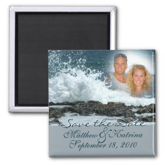 Ocean Blue/ Save the Date 2 Inch Square Magnet