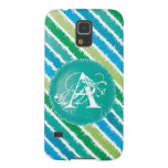 Ocean Blue & Sea Green Monogram Stripes Phone Case Case For Galaxy S5