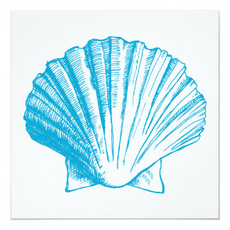 Ocean Blue Sea Shell Luau Reception Invitation