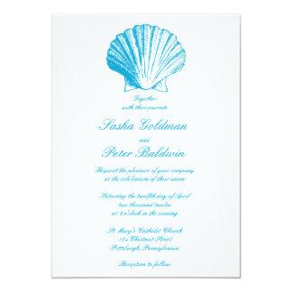 Ocean Blue Sea Shells Wedding Invitation