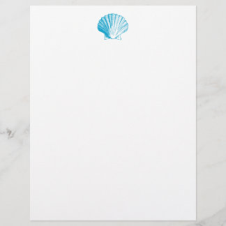 Ocean Blue Seashell Letterhead