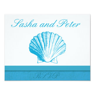"Ocean Blue Shell Beach Wedding RSVP Cards 4.25"" X 5.5"" Invitation Card"