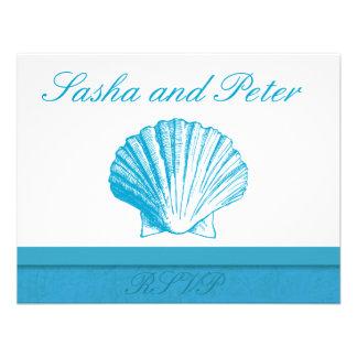 Ocean Blue Shell Beach Wedding RSVP Cards Invites