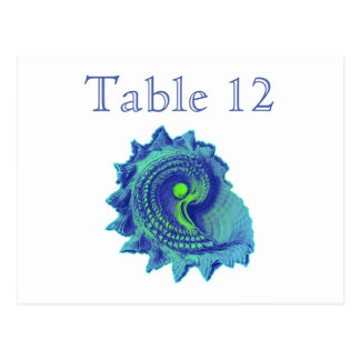 Ocean Blue Spiral Sea Shell Reception Table Number Postcard
