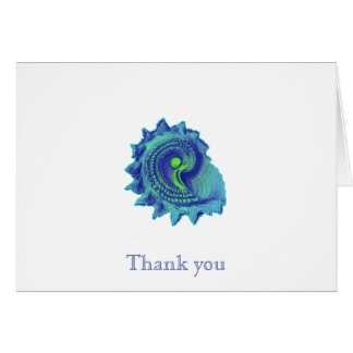 Ocean Blue Spiral Sea Shell Thank You Note Cards