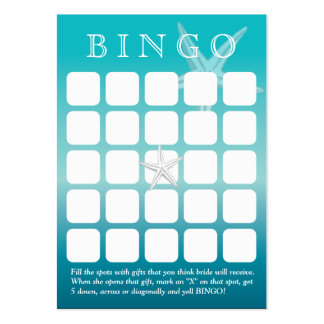 Ocean Blue Starfish 5x5 Bridal Shower Bingo Card Large Business Cards (Pack Of 100)