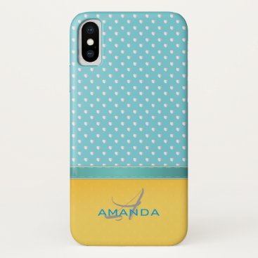 Beach Themed Ocean Blue, Sunny Beach, Silver Hearts Monogram iPhone X Case