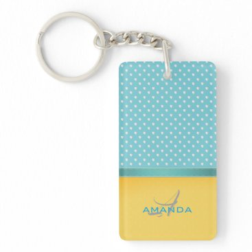 Beach Themed Ocean Blue, Sunny Beach, Silver Hearts Monogram Keychain