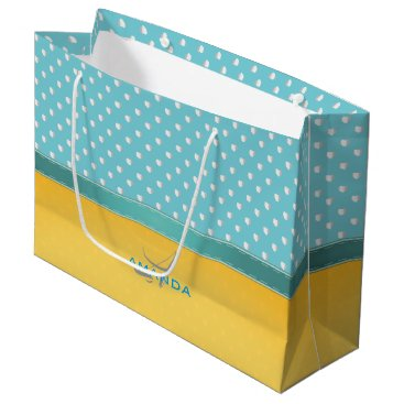Beach Themed Ocean Blue, Sunny Beach, Silver Hearts Monogram Large Gift Bag