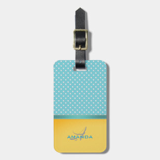 Ocean Blue, Sunny Beach, Silver Hearts Monogram Luggage Tag