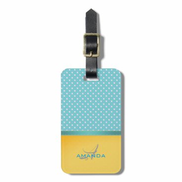 Beach Themed Ocean Blue, Sunny Beach, Silver Hearts Monogram Luggage Tag