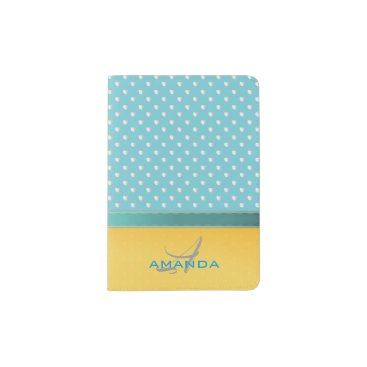 Beach Themed Ocean Blue, Sunny Beach, Silver Hearts Monogram Passport Holder