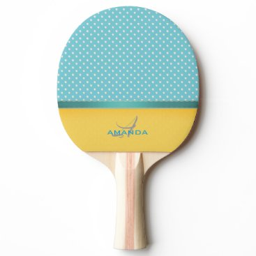 Beach Themed Ocean Blue, Sunny Beach, Silver Hearts Monogram Ping-Pong Paddle