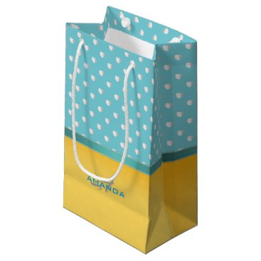 Beach Themed Ocean Blue, Sunny Beach, Silver Hearts Monogram Small Gift Bag