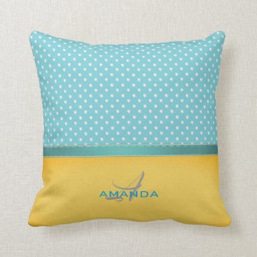 Beach Themed Ocean Blue, Sunny Beach, Silver Hearts Monogram Throw Pillow
