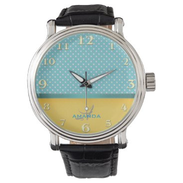 Beach Themed Ocean Blue, Sunny Beach, Silver Hearts Monogram Wrist Watch
