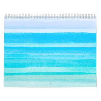 Ocean Blue Teal Watercolor Ombre Stripe Calendar