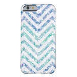 Ocean Blue Variegated Chevron Striped Glitter Look Barely There iPhone 6 Case