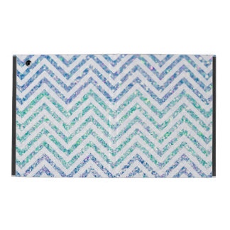 Ocean Blue Variegated Chevron Striped Glitter Look iPad Case