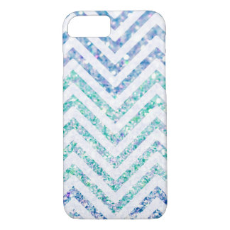 Ocean Blue Variegated Chevron Striped Glitter Look iPhone 7 Case