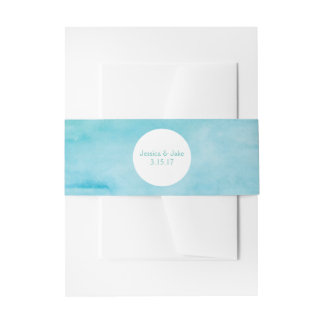 Ocean Blue Watercolor Invite Belly Band
