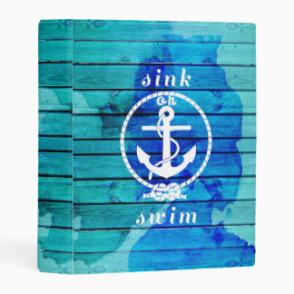 Ocean Blue Watercolor Wood and Anchor Quote Mini Binder