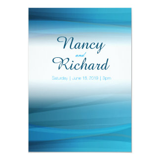 Ocean Blue Wave Pattern Wedding Invitation