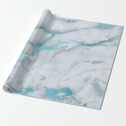 Ocean Blue White Gray Marble Shiny Brushes Wrapping Paper