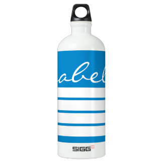 Ocean Blue with White Stripes Personalized Water Bottle