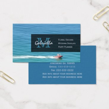 Professional Business Ocean Boat : Monogram Business Cards